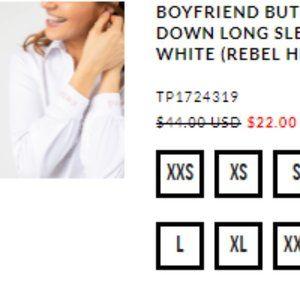 BOYFRIEND BUTTON DOWN LONG SLEEVE WHITE (REBEL HEA